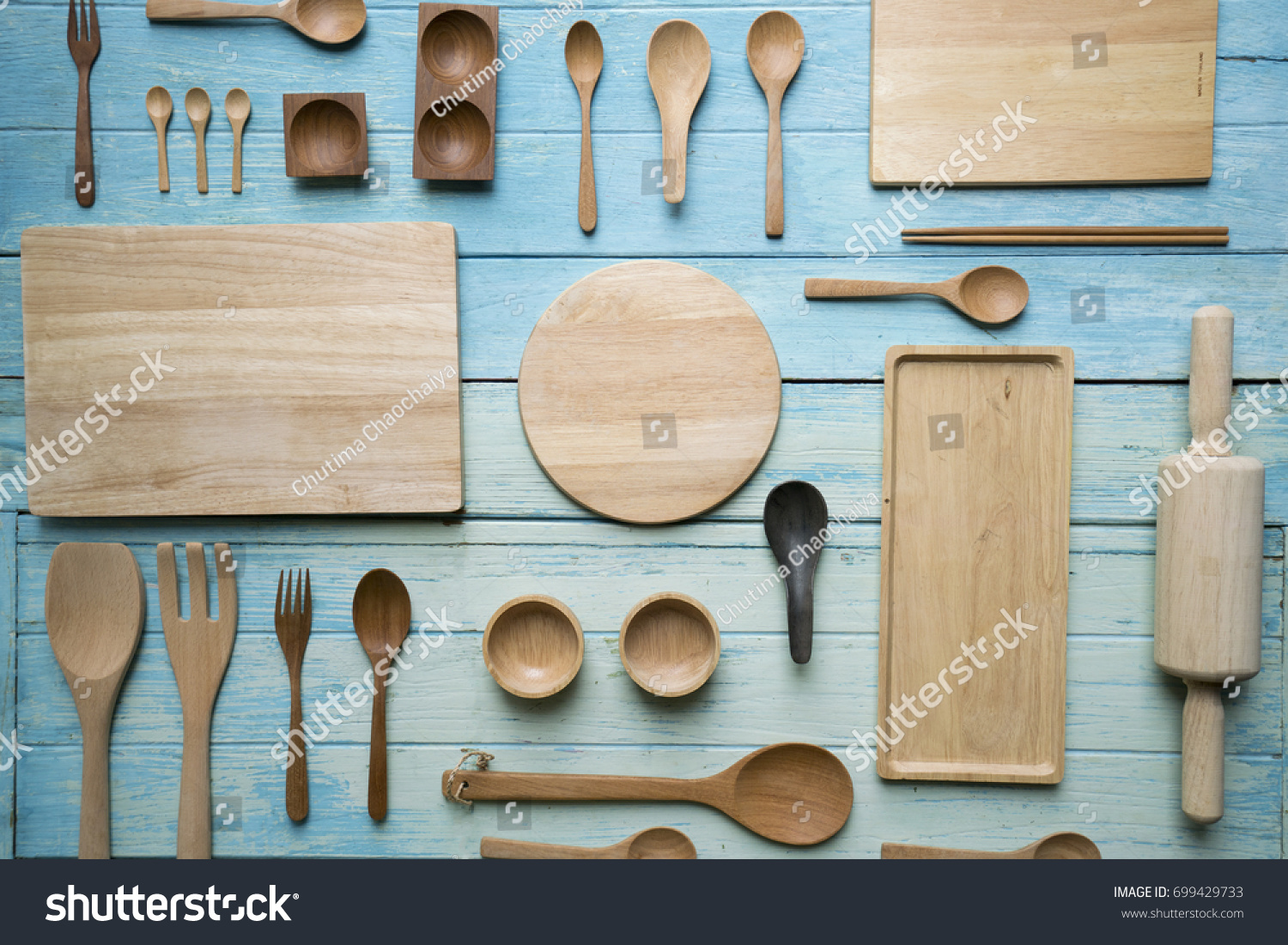Kitchen Utensils Cooking On Wooden Table Stock Photo (Royalty Free ...