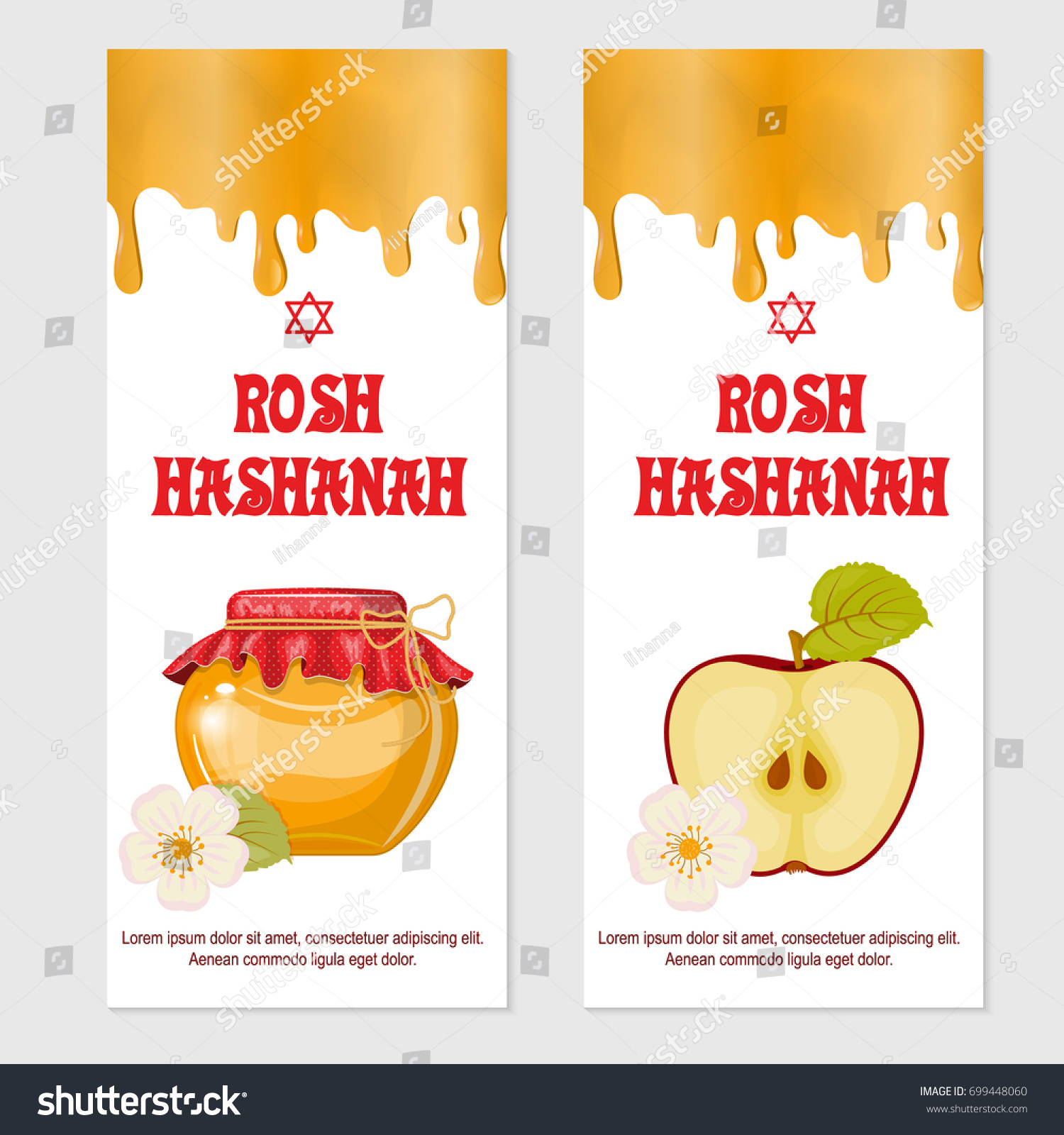 Rosh hashanah jewish new year greeting stock vector 699448060 rosh hashanah jewish new year greeting card set design with hand drawing apple honey and pomegranate kristyandbryce Choice Image
