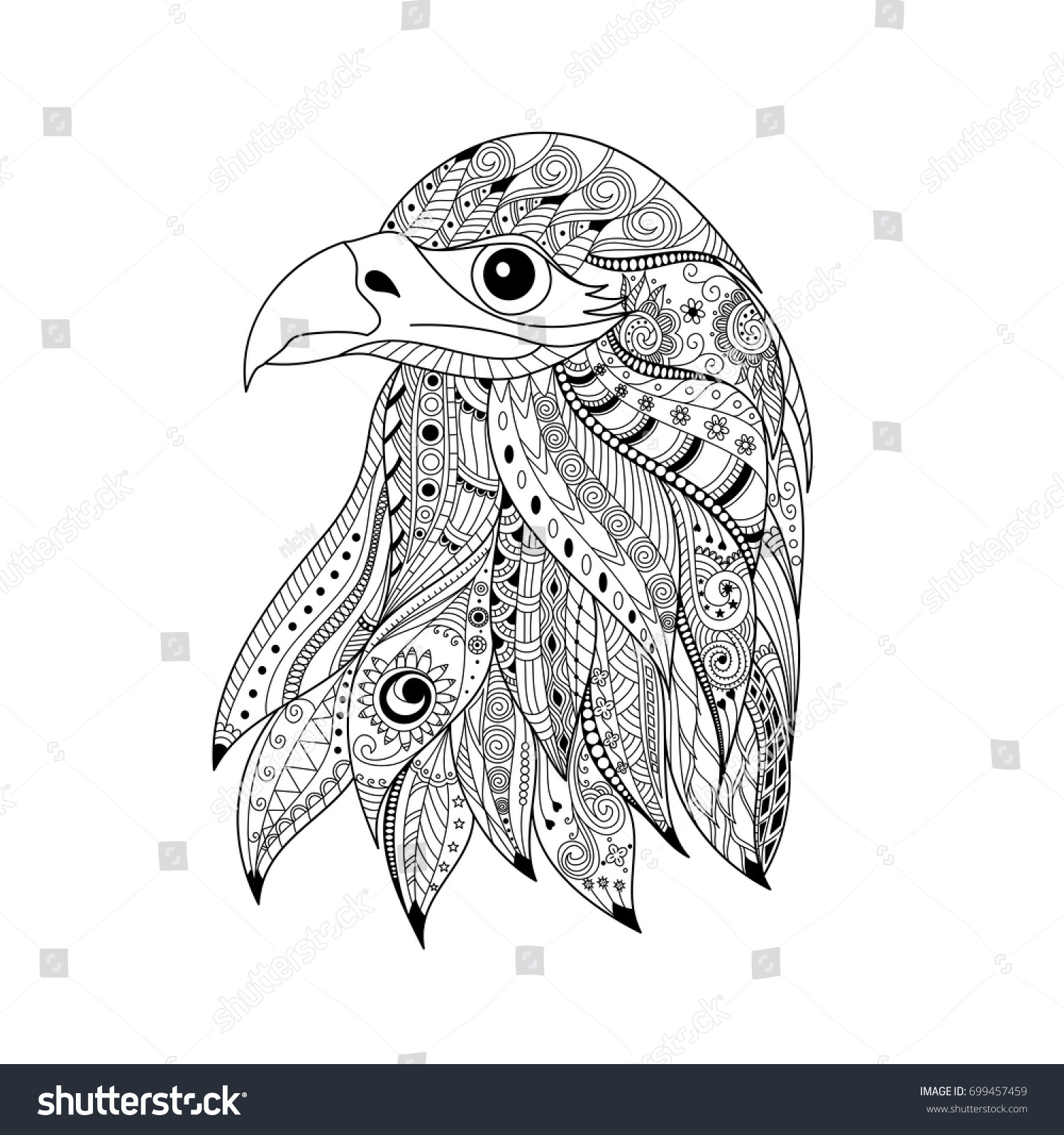 Hand Drawn Zentangle Eagle Head For Adult And Children Coloring Book Pagevector Illustration