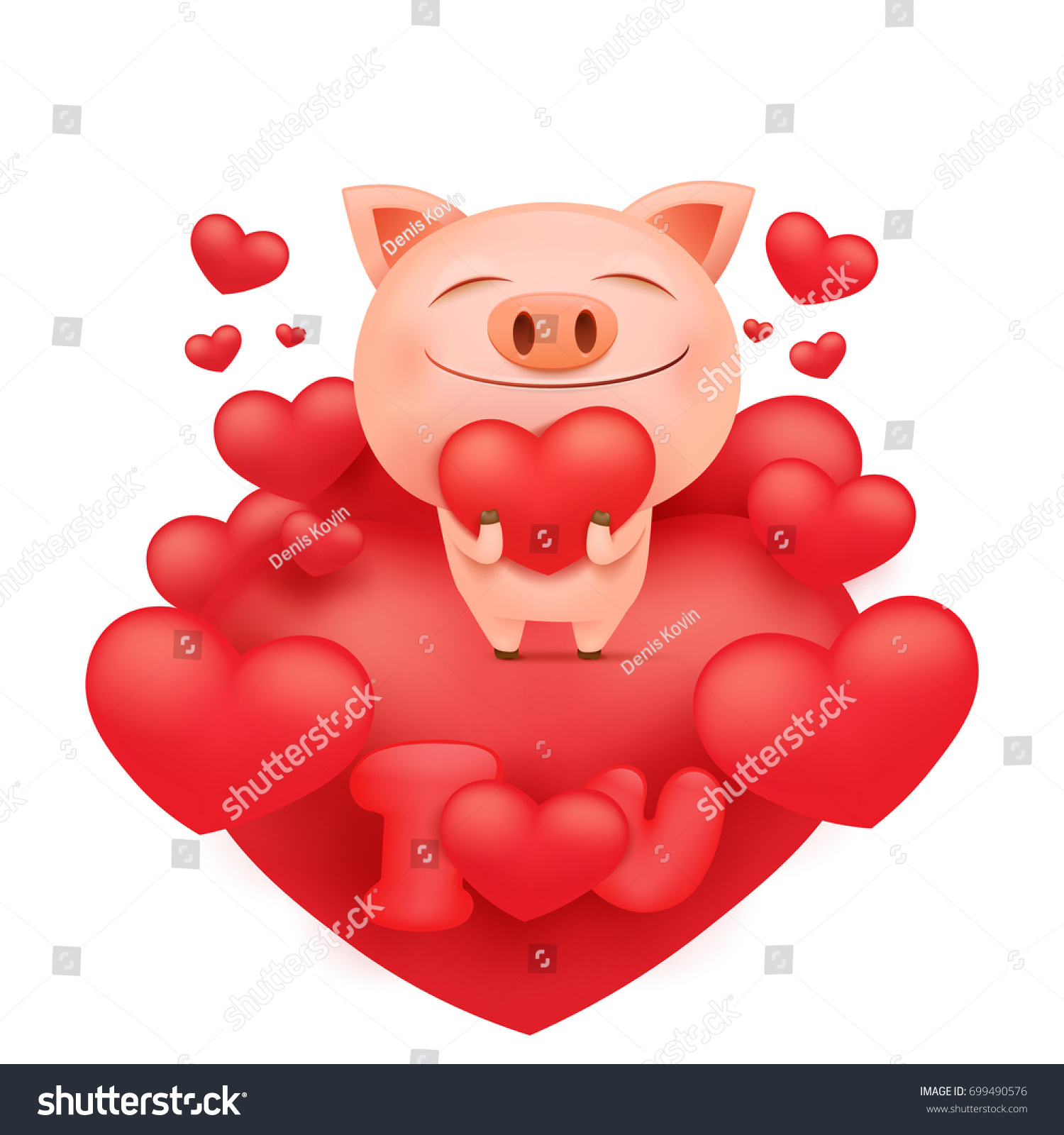 Funny Pink Pig Cartoon Character Standing Stock Vector HD (Royalty ... for Pig Heart Cartoon  lp00lyp