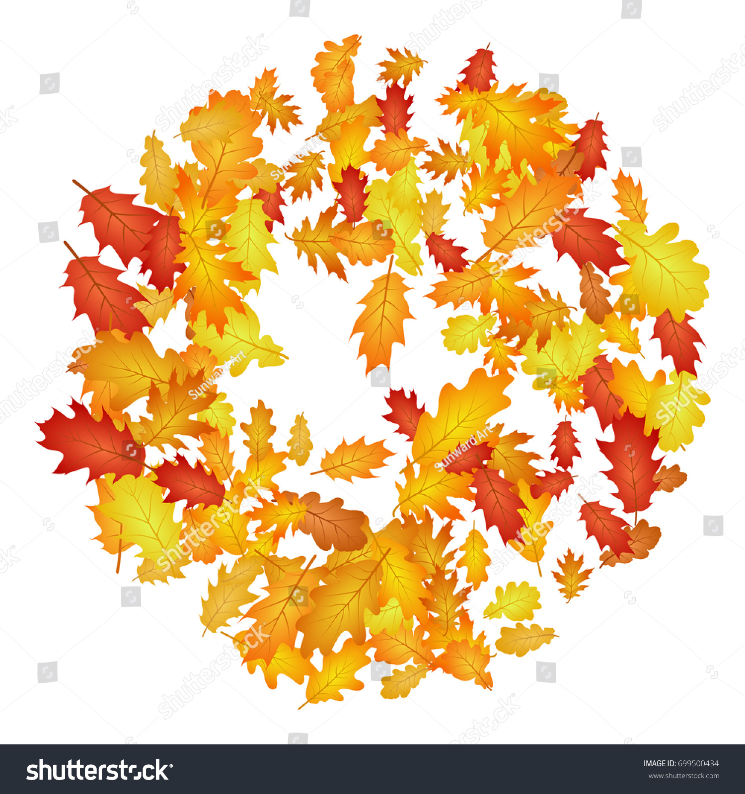 circle oak leaf vector round pattern stock vector 699500434