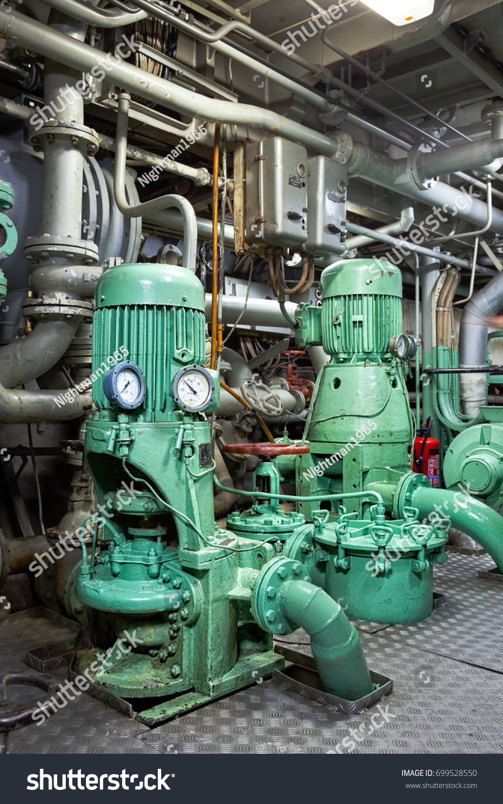 Spaceship Engine Room: Engine Water Pumps Pump Room Ship Stock Photo 699528550