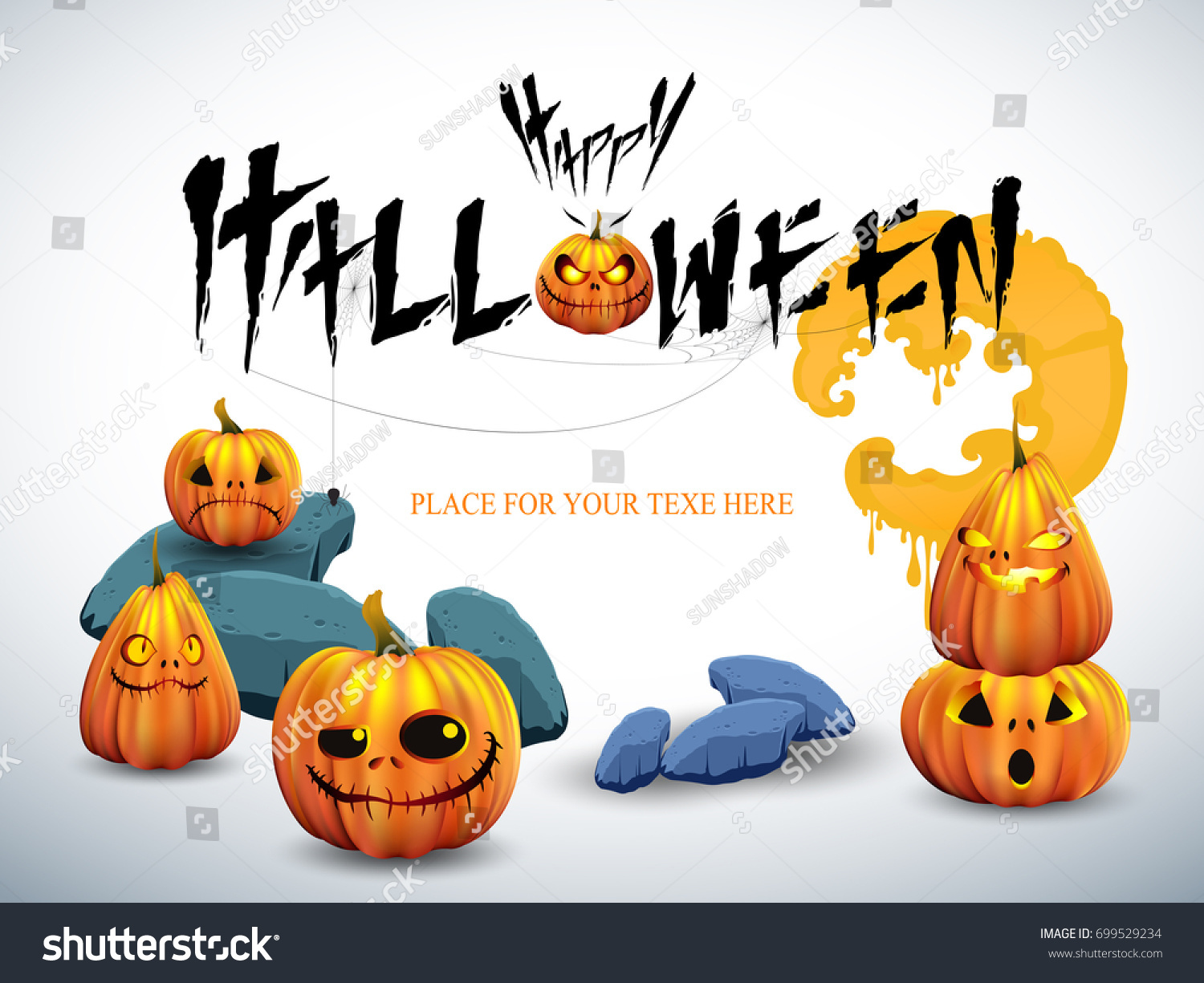 Happy halloween white background cute pumpkin stock vector 699529234 happy halloween white background with cute pumpkin and the space to put the invitation and greeting m4hsunfo