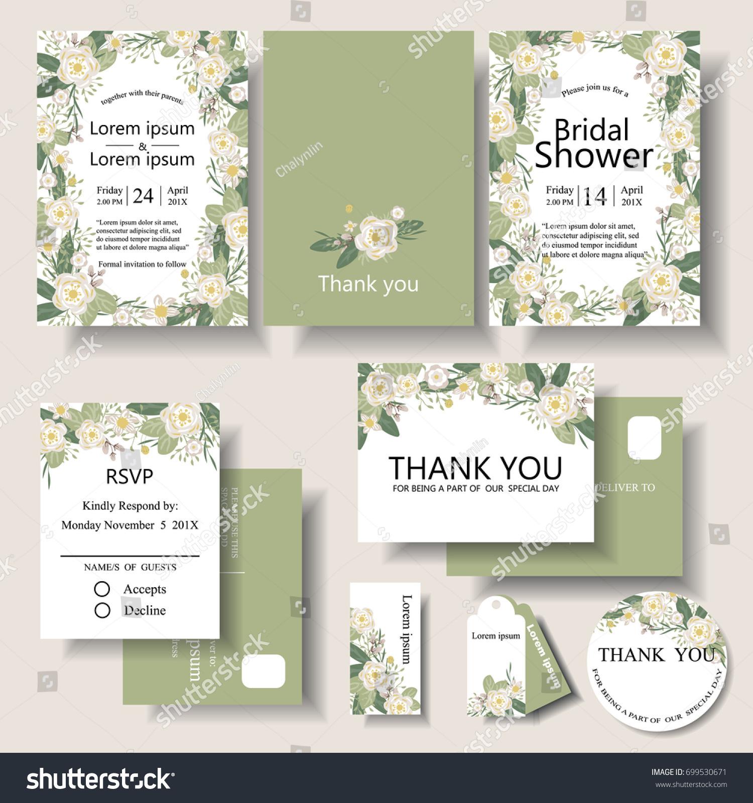 Set Botanical Frame Wedding Invitation Card Stock Vector 699530671 ...