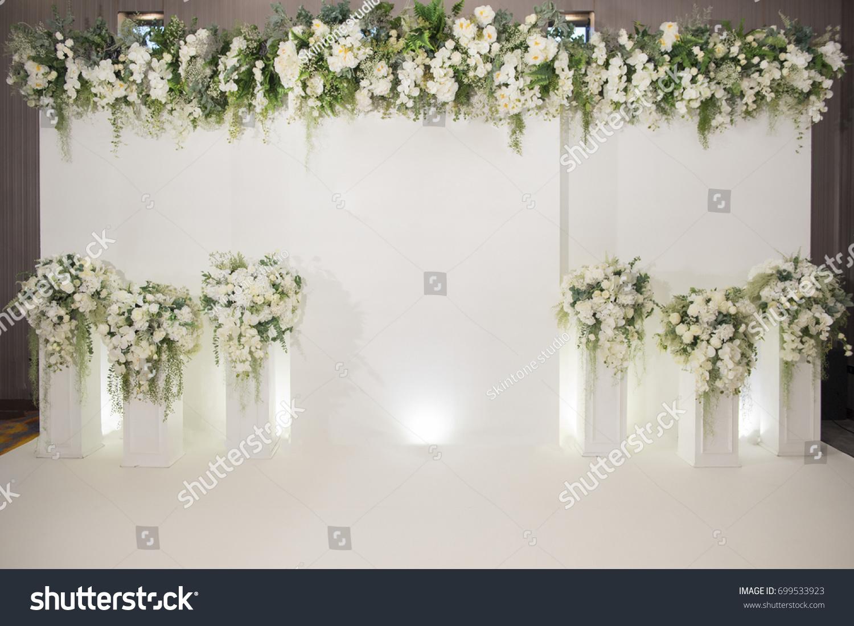 Wedding backdrop flower wedding decoration stock photo 699533923 wedding backdrop with flower and wedding decoration junglespirit Image collections