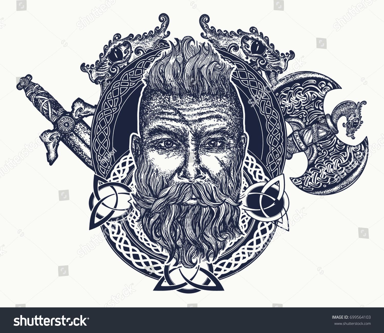 Viking Tattoo Symbol Force Courage Scandinavian Stock Vector