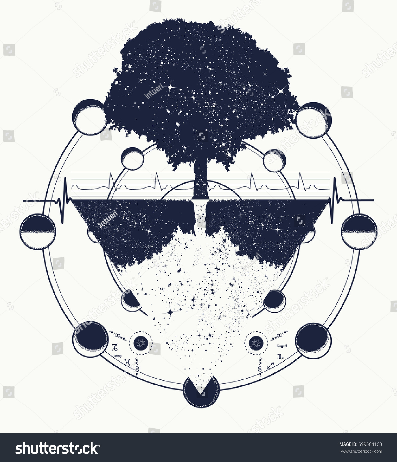 Tree Life Tattoo Art Future Past Stock Vector Royalty Free