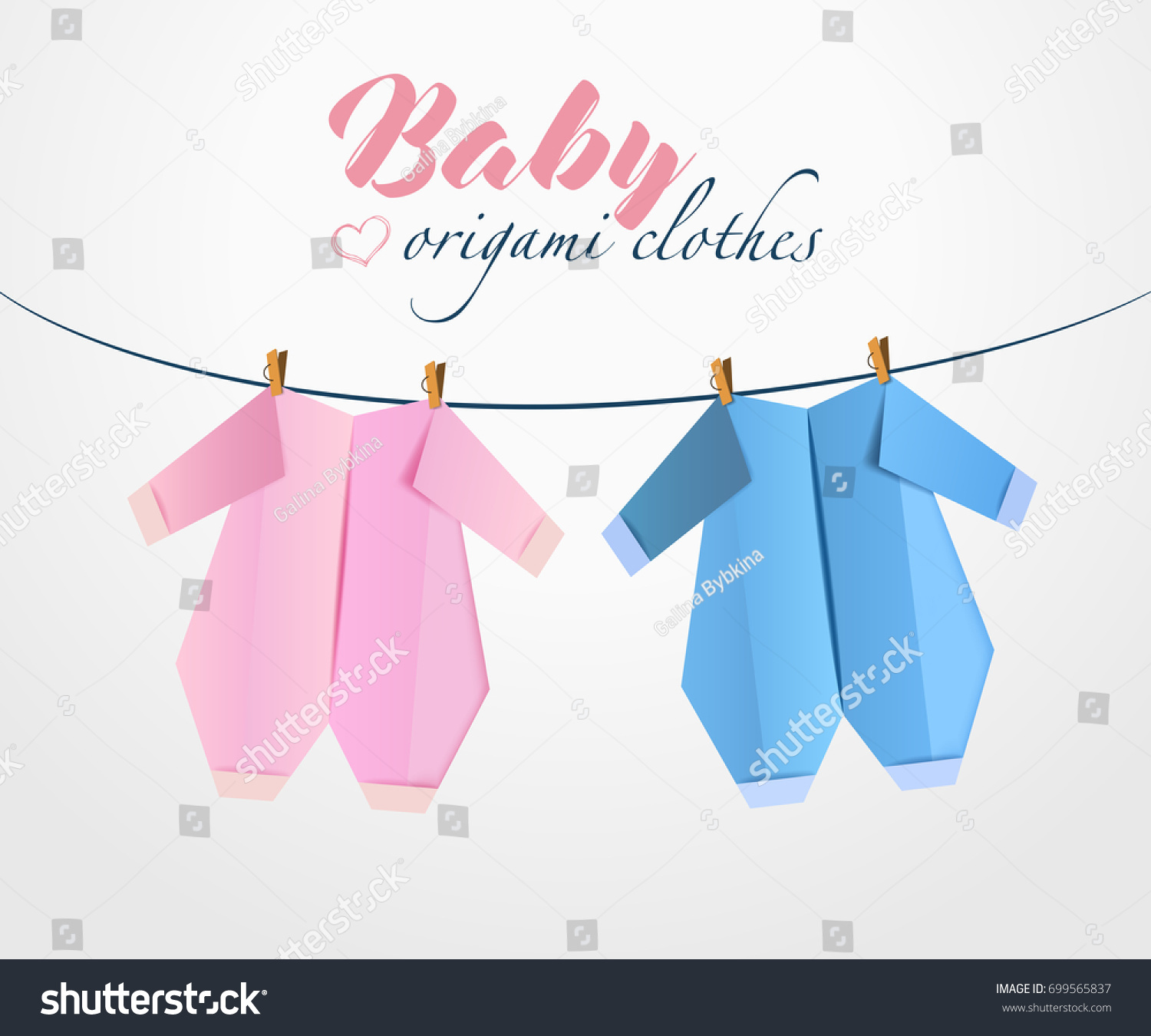 Origami Baby Clothes Paper Clothes Stock Vector HD Royalty Free