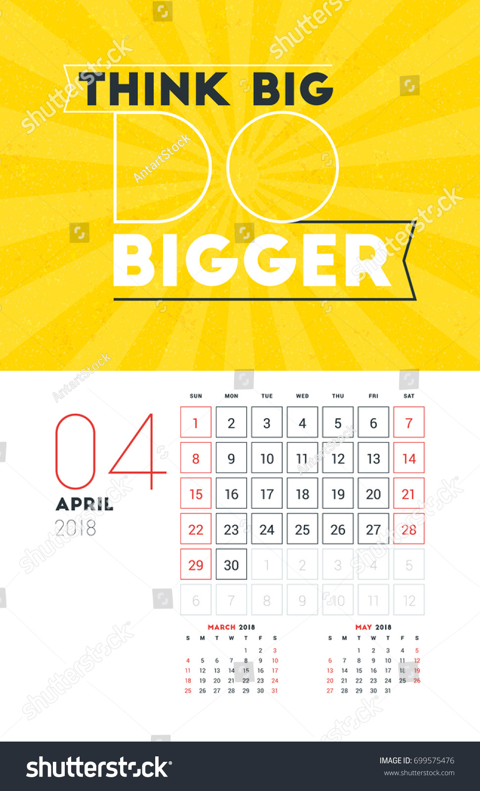 Wall Calendar Template April 2018 Vector Stock Vector Royalty Free