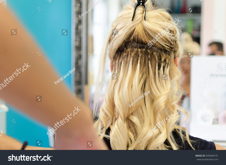 Hairdresser Applying Blonde Tress Keratin Ceratine Stock Photo