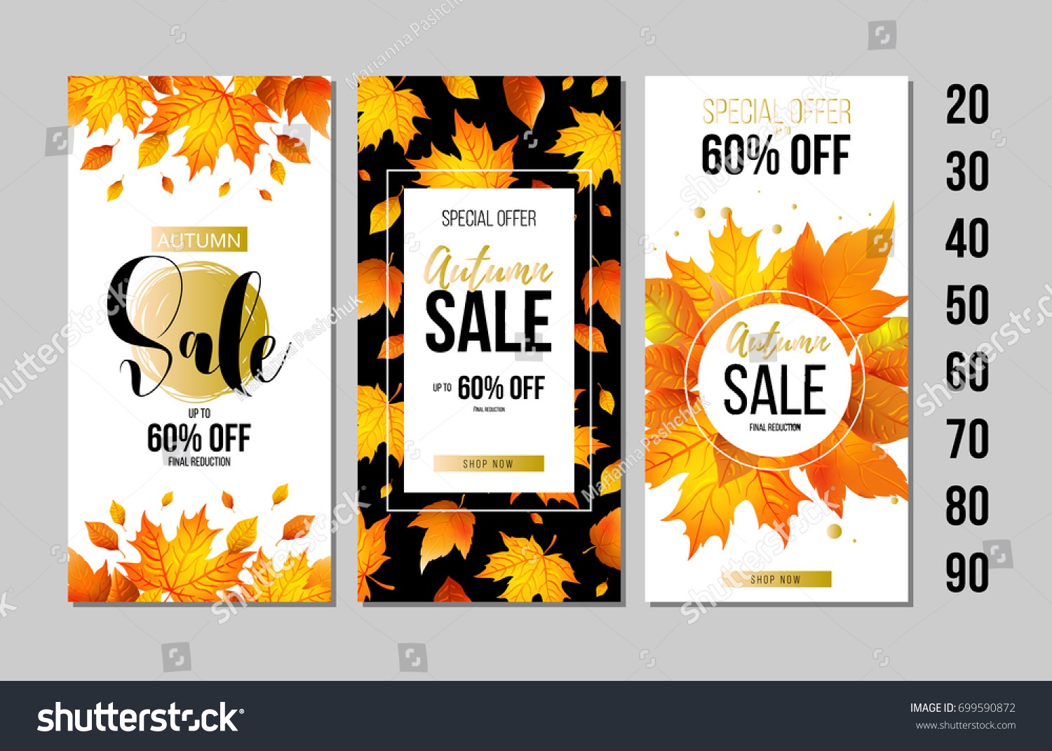 set autumn sale flyer template lettering stock vector royalty free