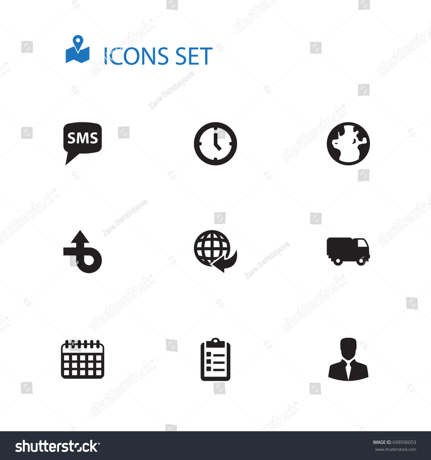 Set 10 Systematization Icons Set Collection Clipboard Stock Vector