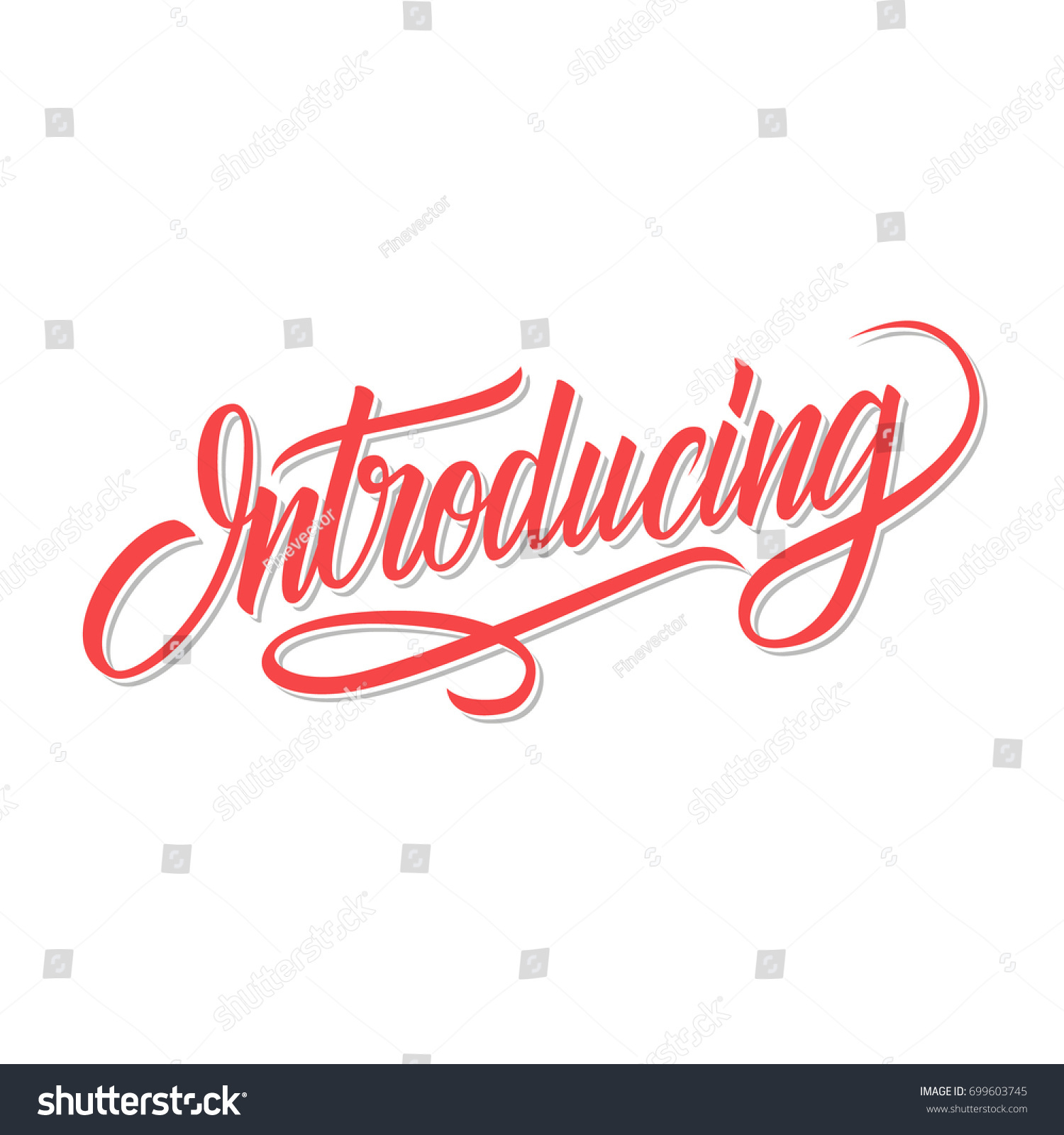 Introducing Word Calligraphic Lettering Creative Typography 699603745 on File Cursive