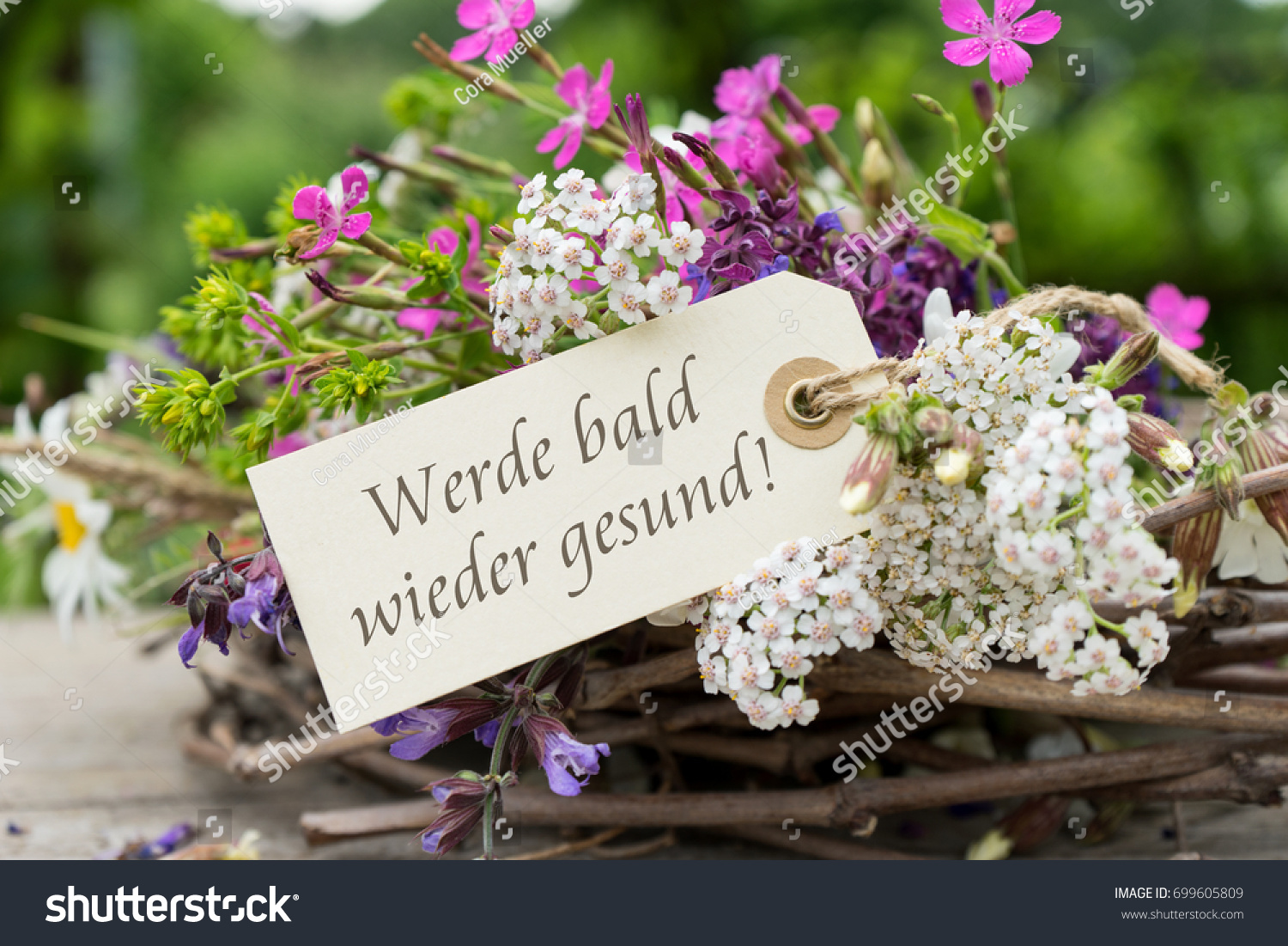 Greeting Card Colorful Bouquet German Text Stock Photo Royalty Free