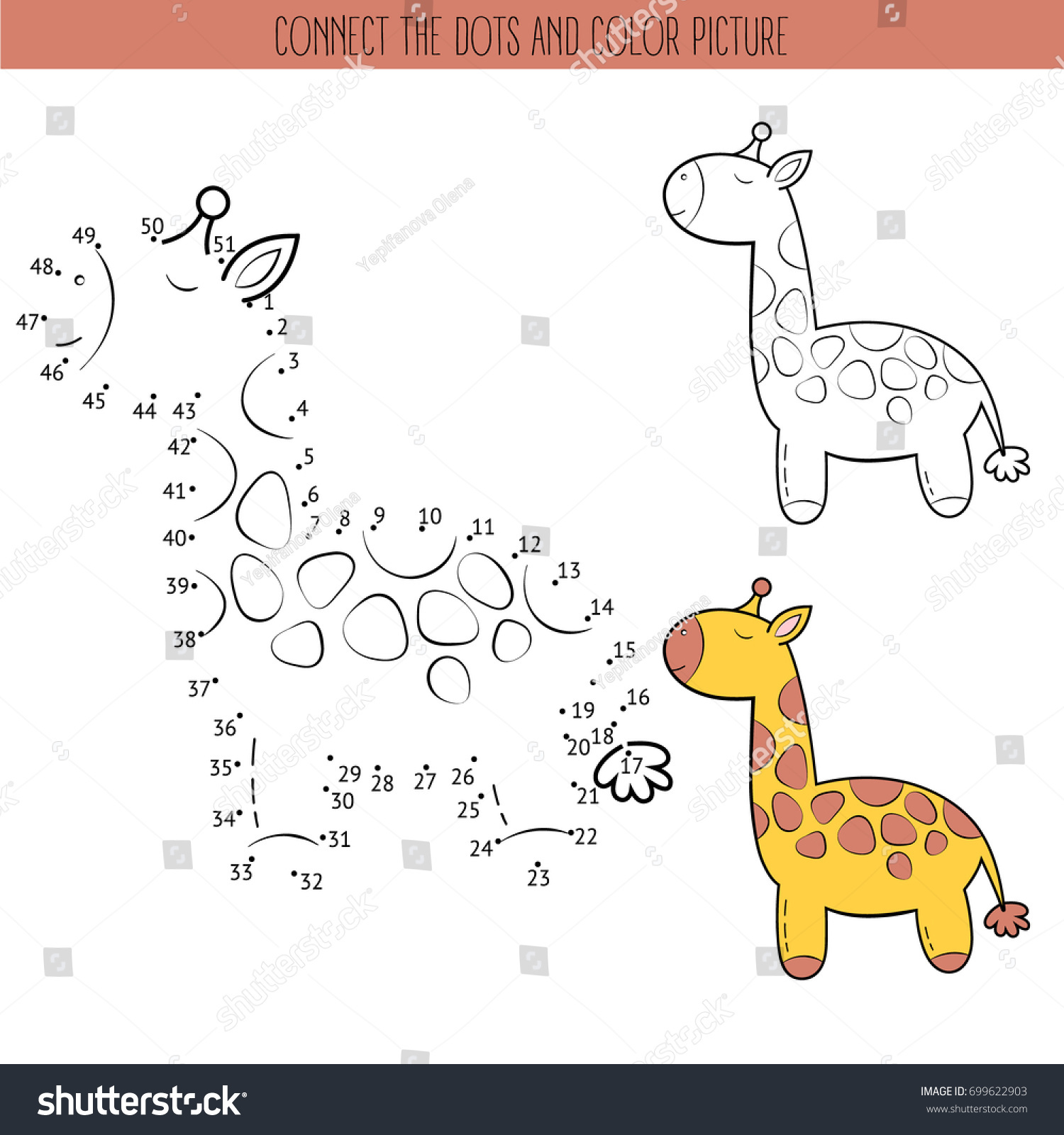 coloring book dot dot educational game stock vector 699622903