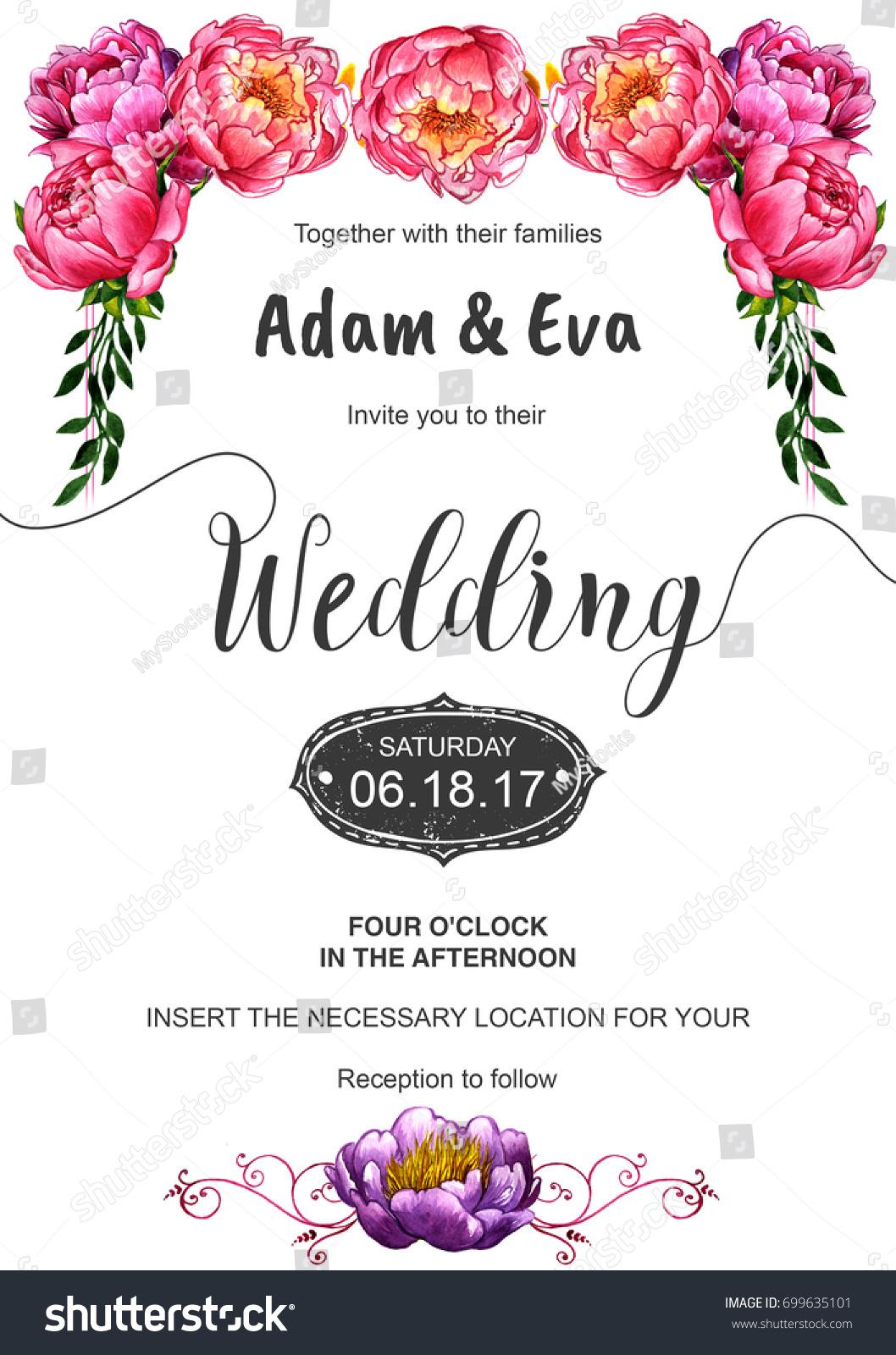 Wedding Invitation Di Y Template Handmade Watercolor Stock ...
