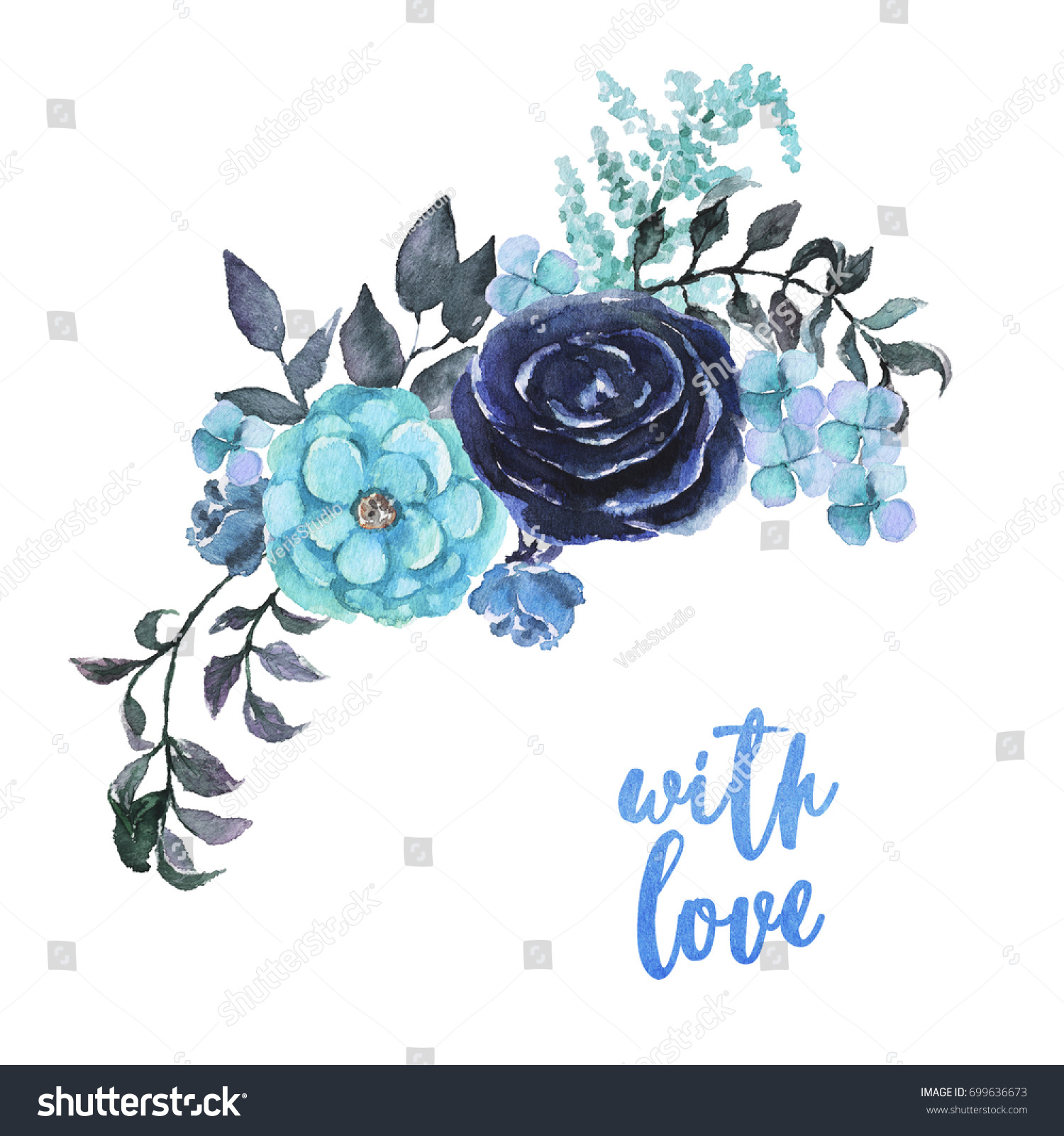 Watercolor Sky Blue Flowers Bouquet Beautiful Stock Illustration