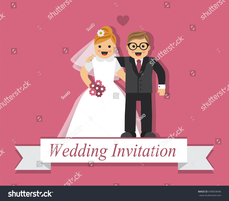 Cute Cartoon Bride Groom On Card Stock Vector Royalty Free 699654646