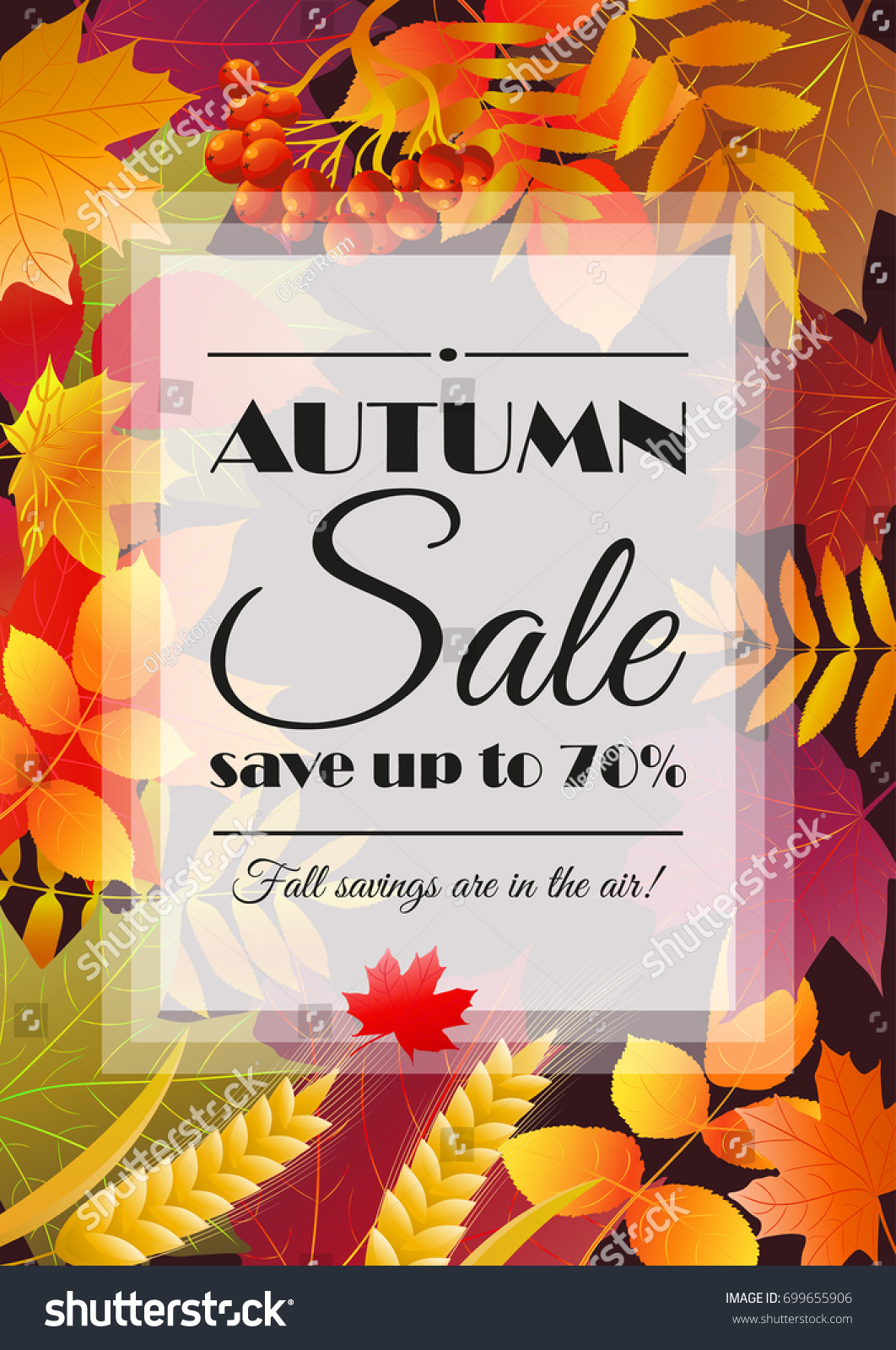 Autumn Sale Poster, Flyer, Card Template With Typography. Bright Fall Maple  Leaves,