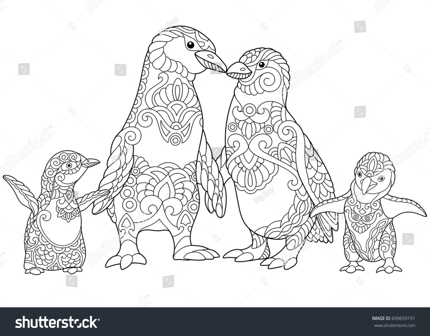 coloring page emperor penguins family isolated stock vector