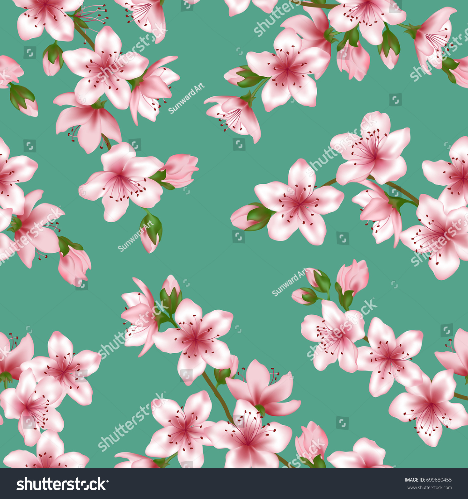 Japanese Cherry Flowers Blossom Branches Vector Stock Vector