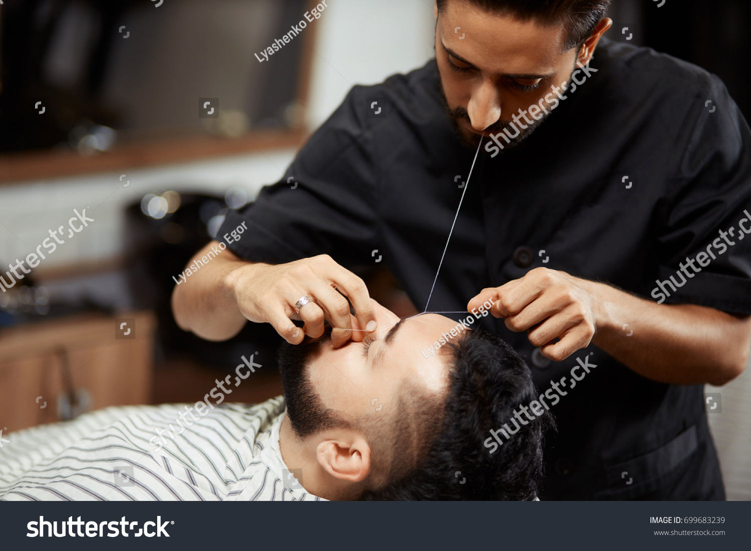 Professional Barber Doing Eyebrow Threading Male Stock Photo Edit