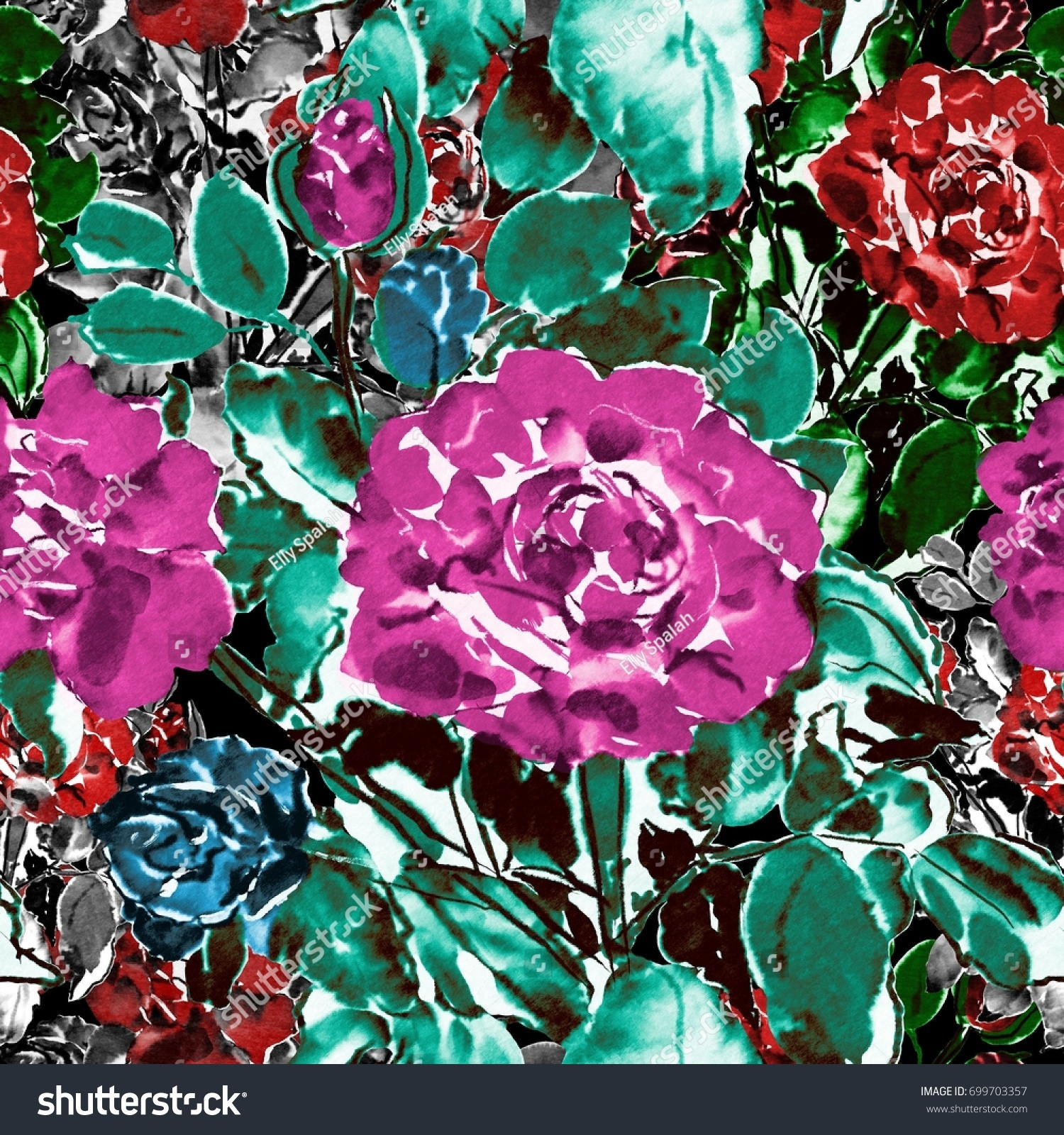 Digital Chinese Watercolor Seamless Roses Pattern Stock Illustration