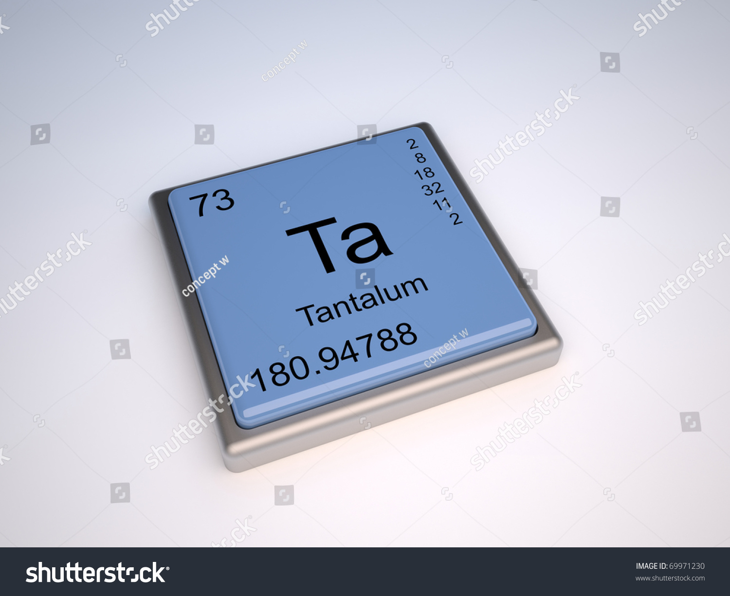 Tantalum Chemical Element Periodic Table Symbol Stock Illustration