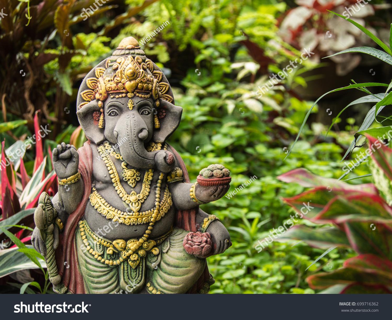 Ganesh Statue God Of Artistic Standing In The Garden