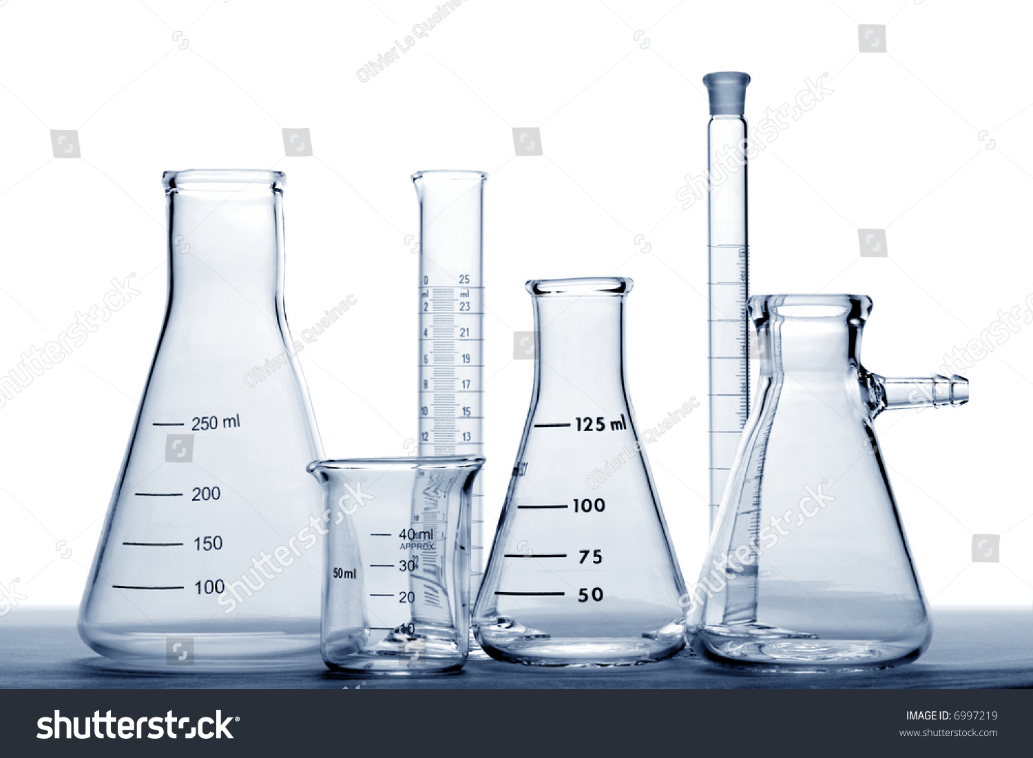 glass laboratory equipment conical erlenmeyer flasks stock photo