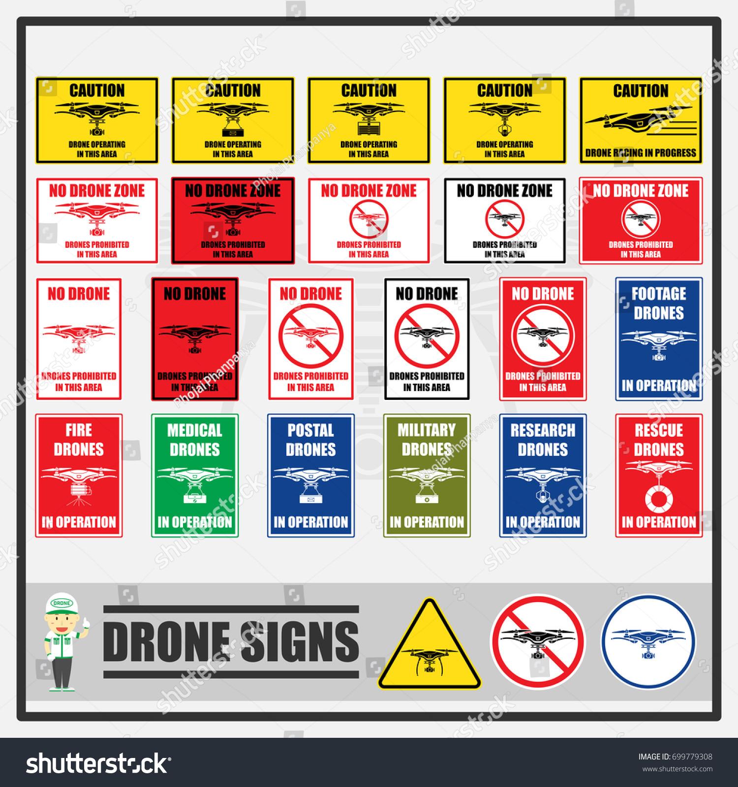 Set Signs Symbols Drones Signs Symbols Stock Vector Royalty Free