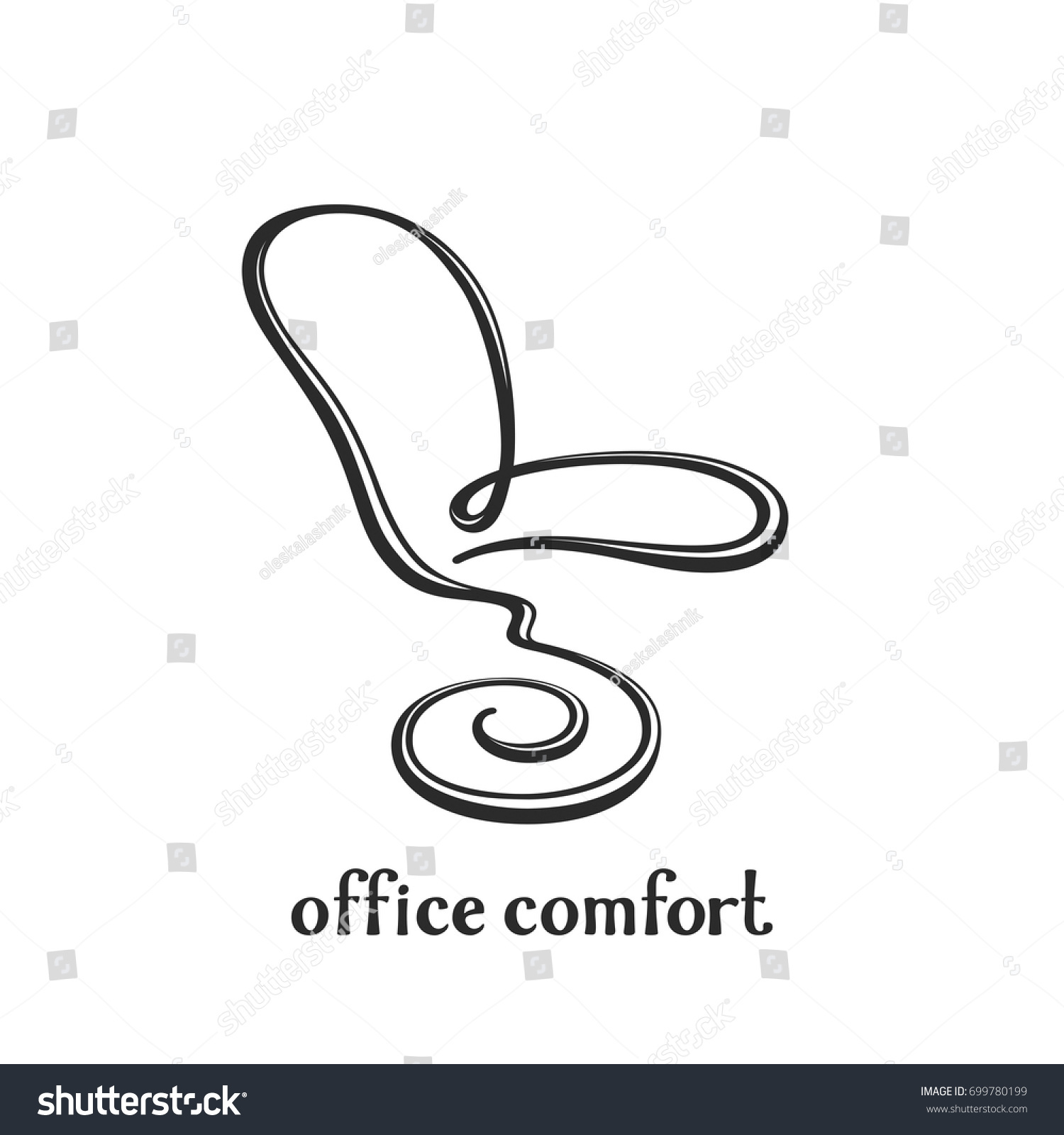 Office chair logo smooth elegant calligraphic stock vector smooth elegant calligraphic line in the form of a chair original biocorpaavc Image collections