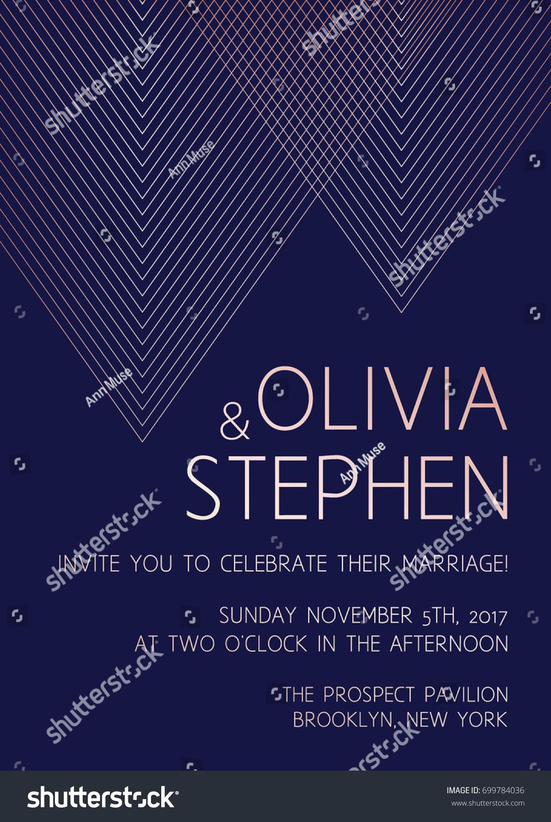 Vector Modern Design Wedding Invitation Trendy Stock Vector