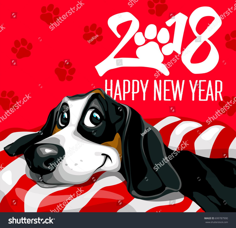 dog happy new year 2018 happy funny puppy