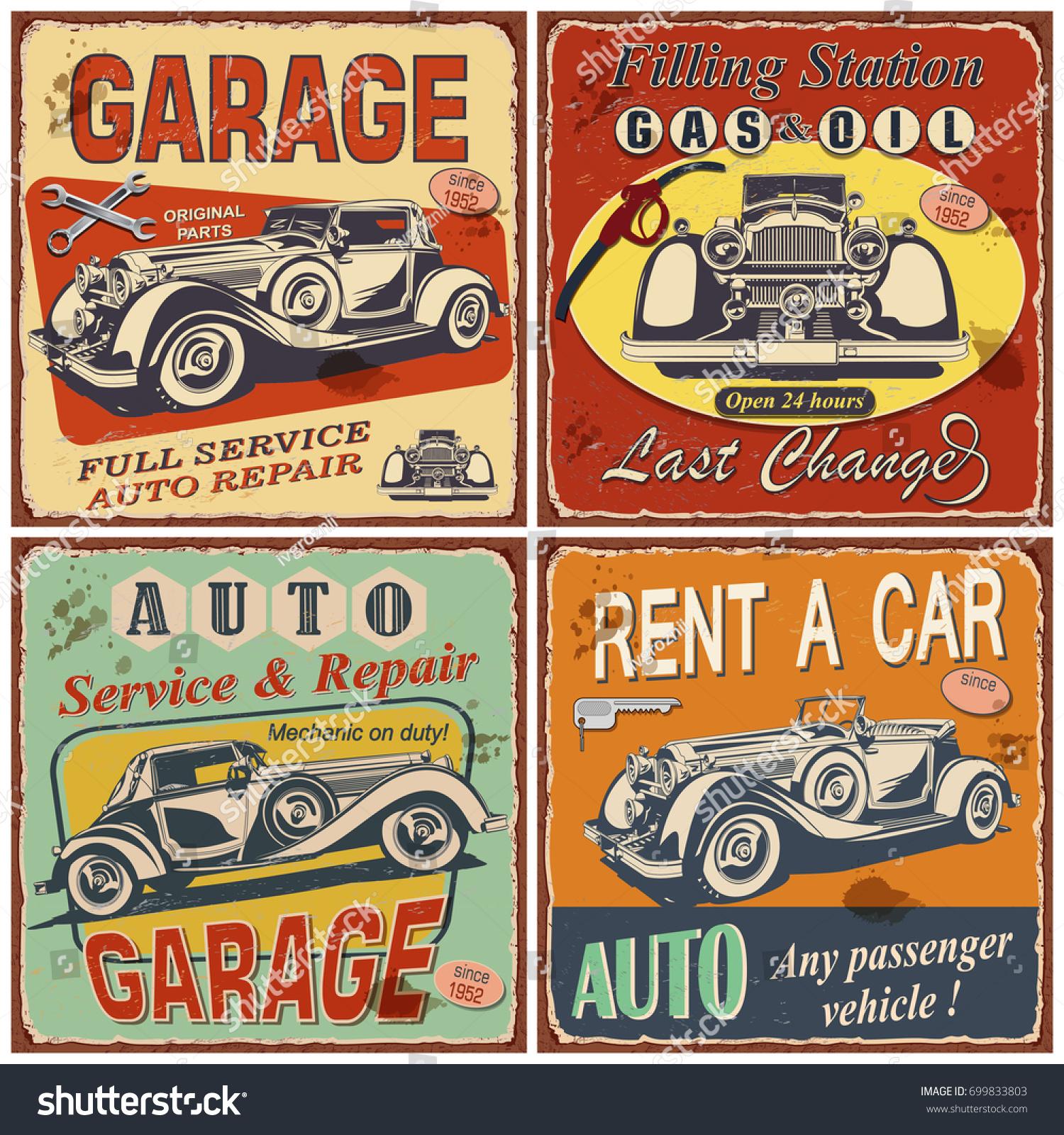 Set Retro Car Postersgaragefilling Stationrent Car Stock Vector ...
