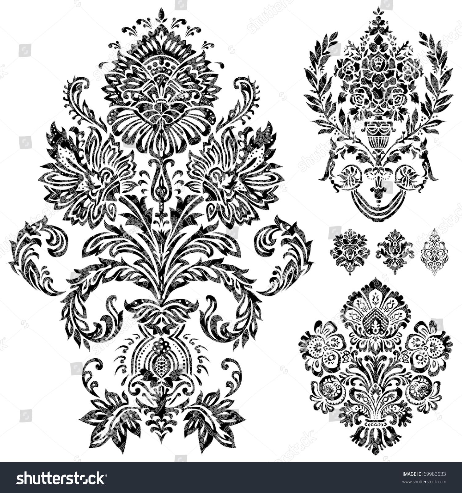 Set Vector Damask Ornaments Easy Edit Stock Vector ...