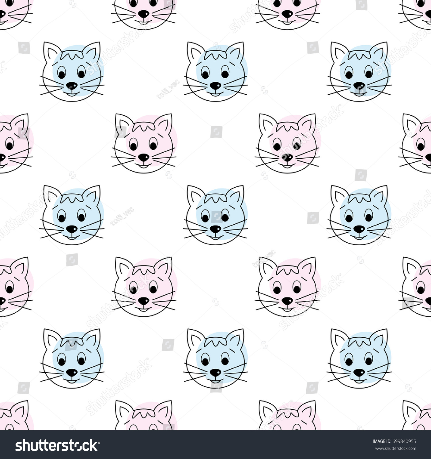 Seamless Pattern With Cats Cartoon Cats Background Good For