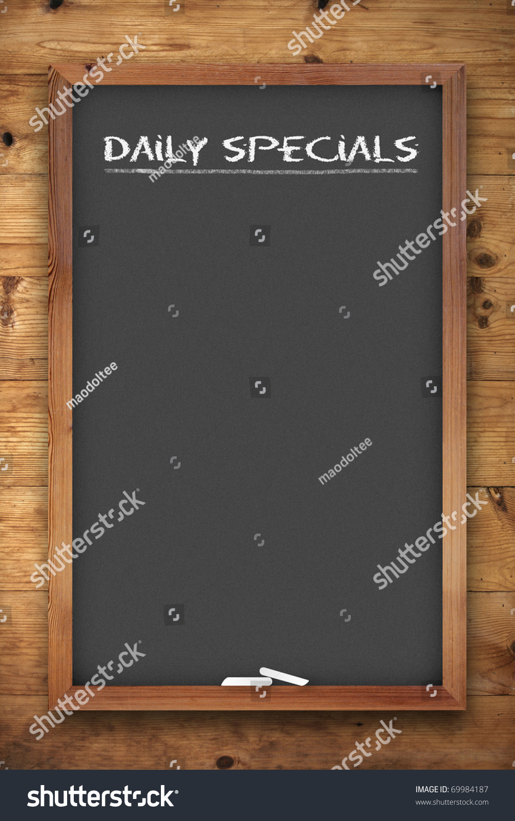 chalkboard menu daily specials title on stock illustration