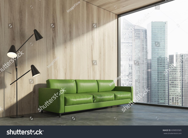 Minimalist Living Room Interior Wooden Wall Stock Illustration ...