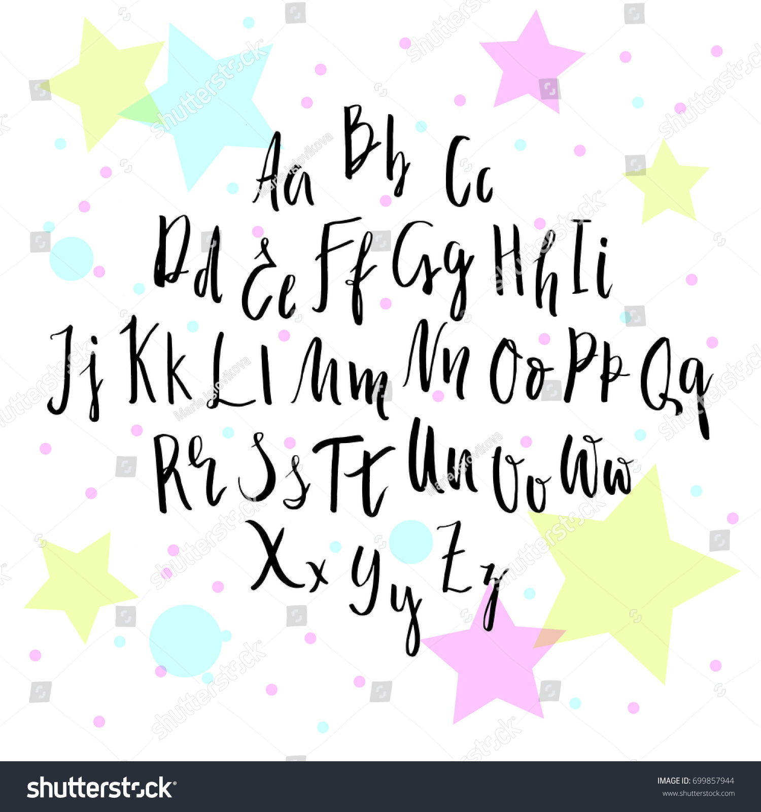 handwritten script font hand drawn alphabet stock vector 699857944