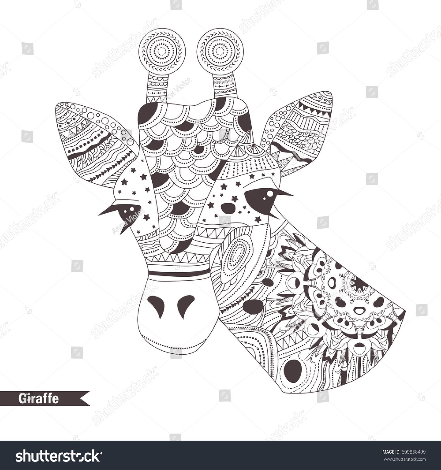 Giraffe Zentangle Style Coloring Book Adult Stock Vector 699858499 ...