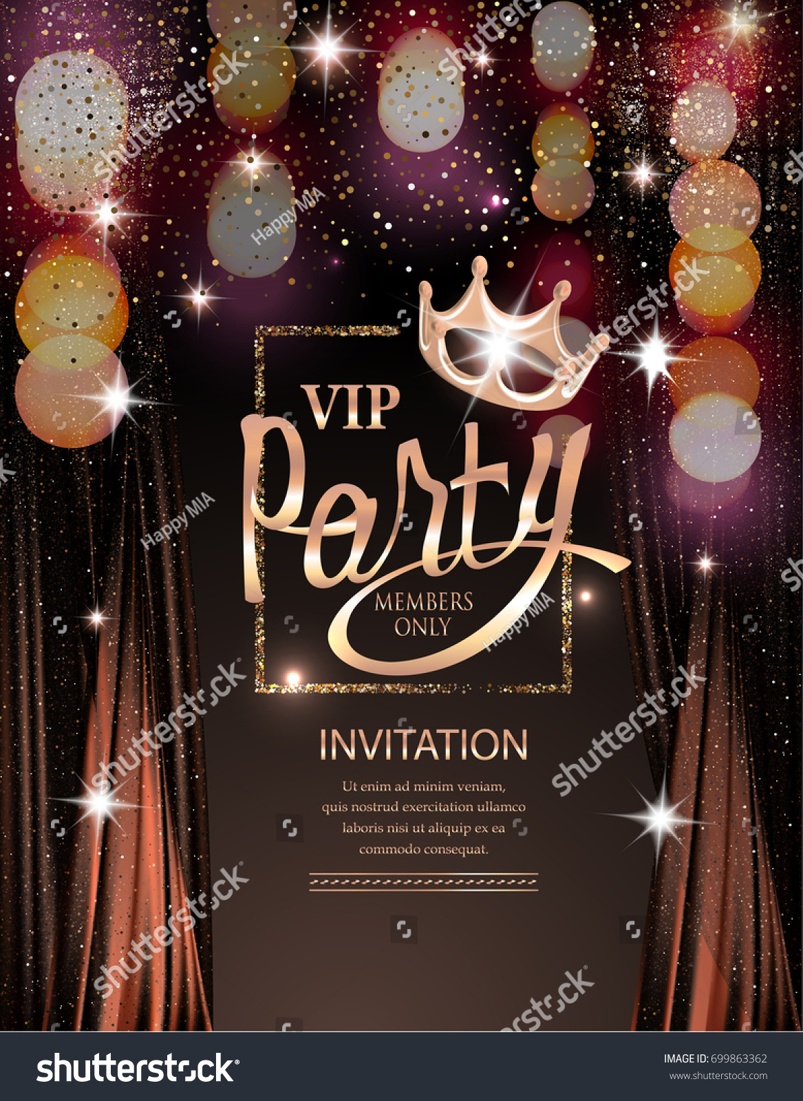 Vip Party Invitation Card Frame Curtains Stock Vector (2018 ...