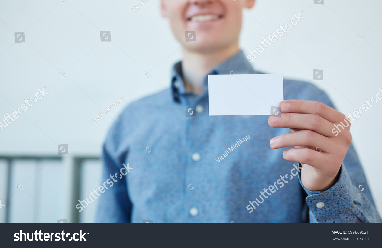 Businessman Holding Visit Card Man Showing Stock Photo 699869521 ...