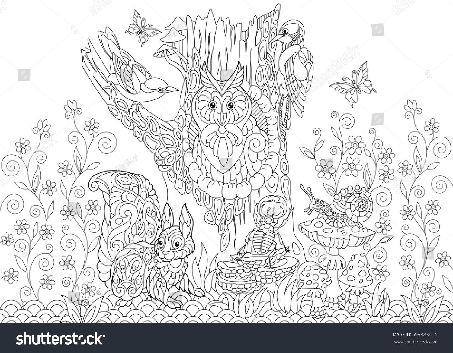 coloring page forest creatures owl cuckoo stock vector 699883414