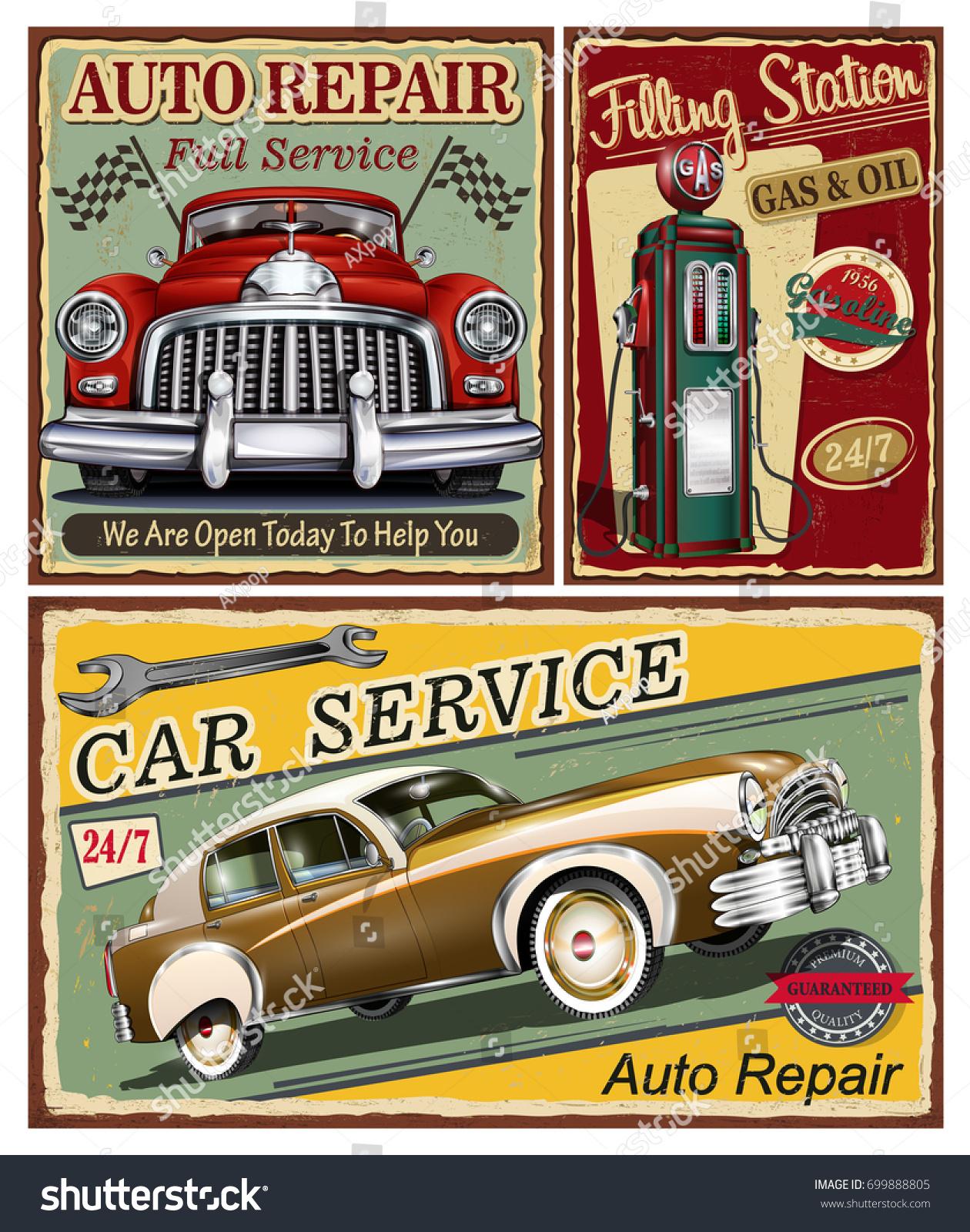 Set Vintage Car Metal Signsgarage Filling Stock Vector 699888805 ...
