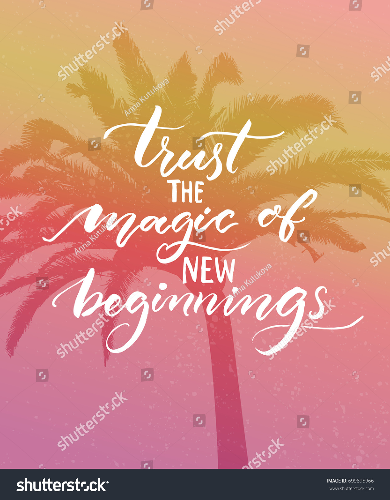Trust Magic New Beginnings Inspirational Quote Stock Vector ...