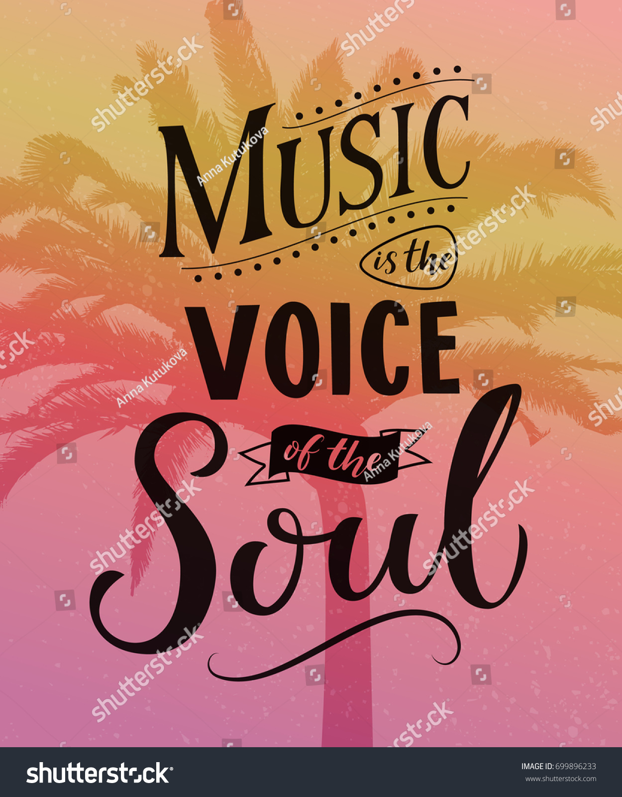 Music Voice Soul Inspirational Quote Typography Stock Vector