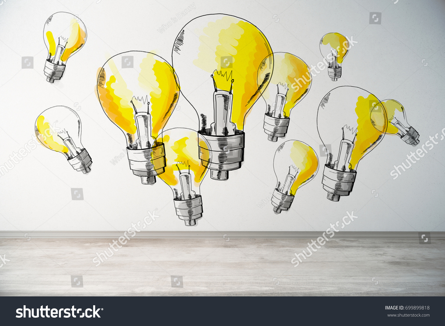 Abstract Interior Drawn Yellow Lamps On Stock Photo (Royalty Free ...