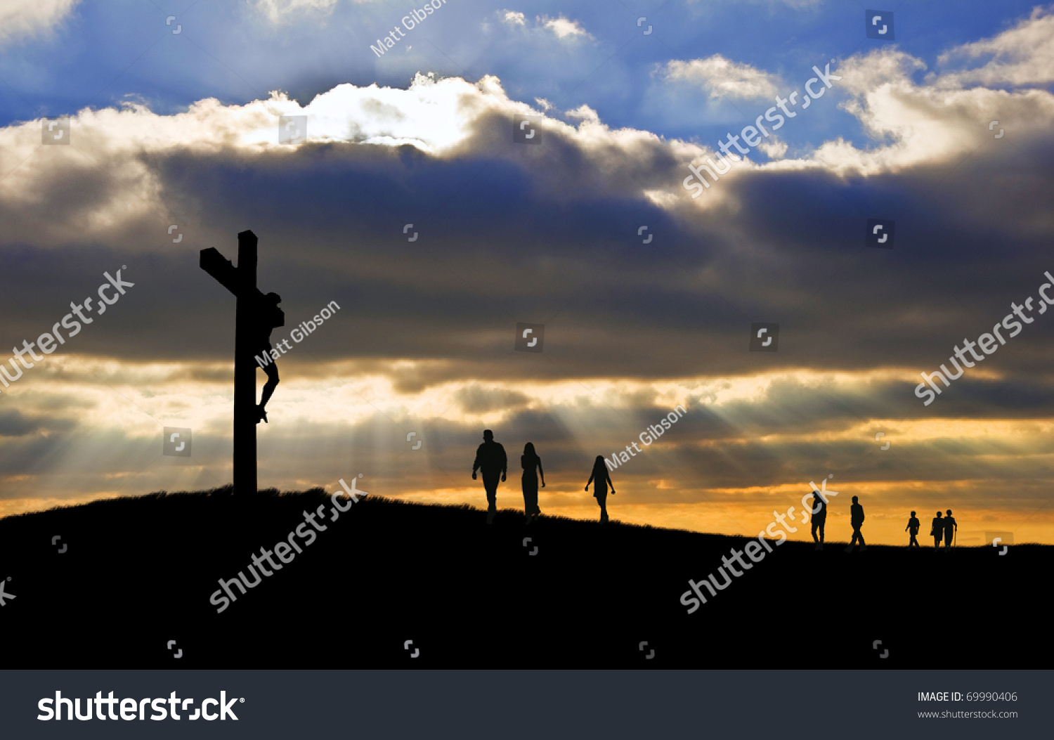 silhouette jesus christ crucifixion on cross stock photo 69990406