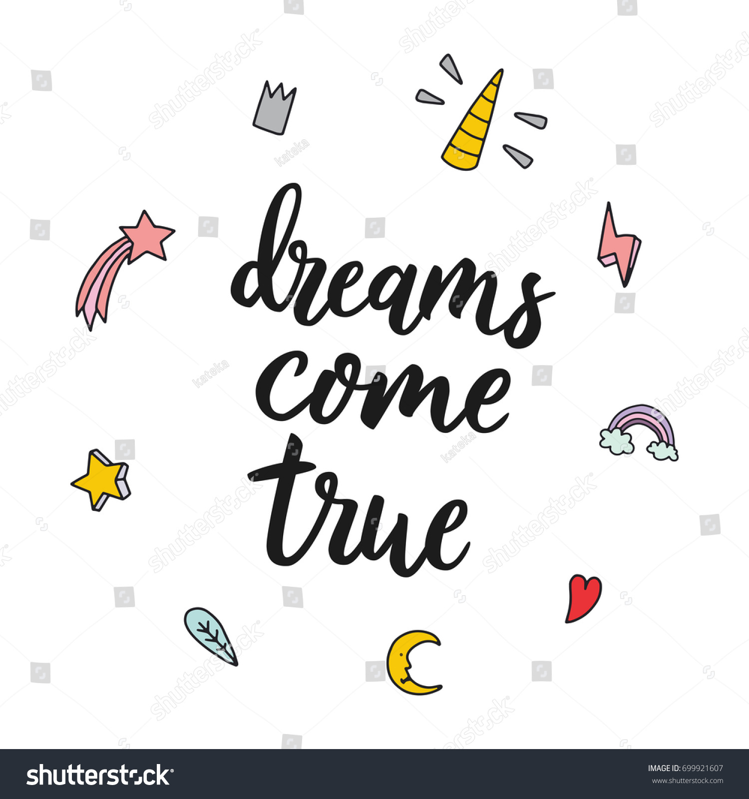 Dreams e True Motivational Inspirational Hand Stock